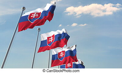 Many waving flags of Slovakia. 3D rendering