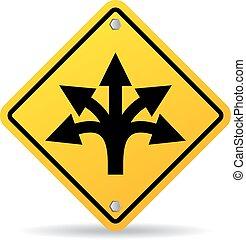 Many ways road sign