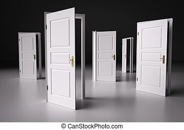 Many ways to choose from, open doors. Decision making - Many...