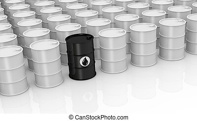 many white barrels and one black barrel with the oil symbol, concept of alternative energy or shortage of petroleum (3d render)