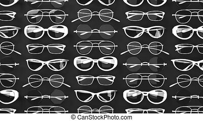 Many white glasses on black background