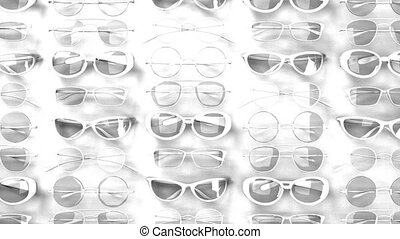 Many white glasses on white background