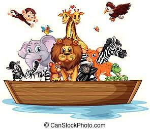 Many wild animals on rowboat