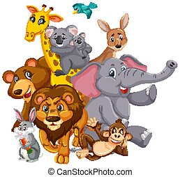 Many wild animals with happy face on white background
