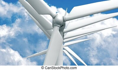 Many wind power generators on sky background. 4K