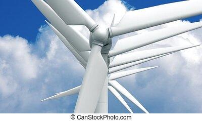 Many wind power generators on sky background. 4K 3d...
