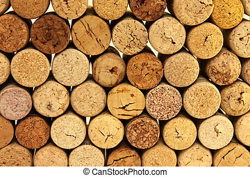 Many wine corks for background
