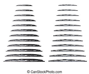 Many wiper blade on a white background - Windscreen wipers...