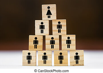 Many wooden blocks with symbols for man and woman on it, different concepts such as women's quota or feminism