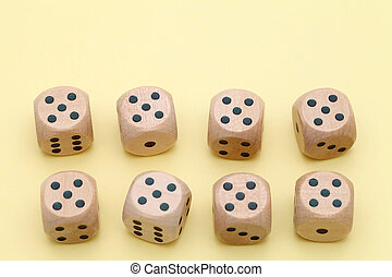 Many wooden dice