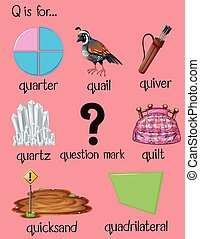 Many words begin with letter Q illustration