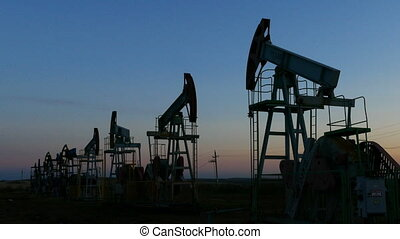 many working oil pumps silhouette in dusk