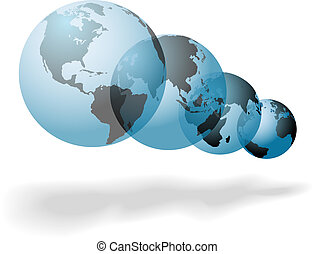 Set of many worlds of planet Earth floating globes symbols of change and change