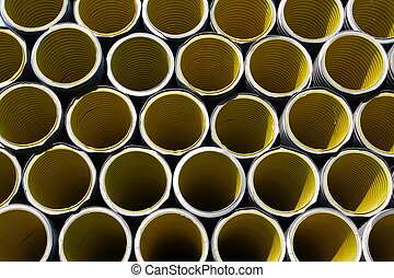 yellow corrugated tube for laying electric cables in the ...