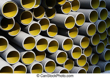 yellow corrugated tube for laying of high-voltage electric ...