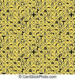 Many yellow road signs seamless pattern