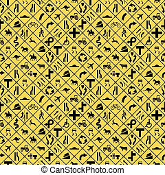 Many yellow road signs seamless pattern