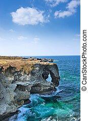 Manzamo Cliff in Okinawa, Japan.