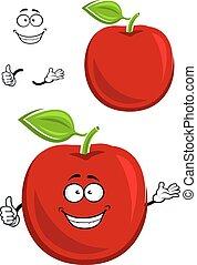manzana, actuación, carácter, arriba, fruta, rojo, pulgar