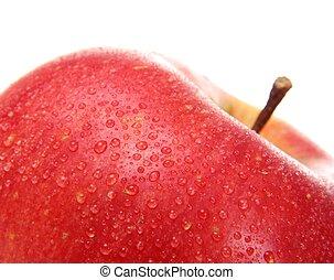 manzana, aislado, arriba, agua, cierre, blanco, gotas, rojo
