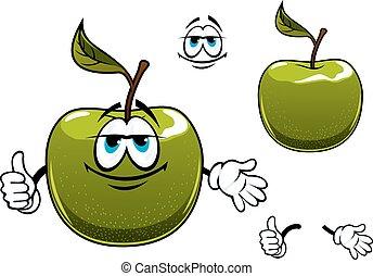 manzana, carácter, arriba, fruta, verde, caricatura, pulgar