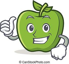 manzana, carácter, arriba, verde, pulgares, caricatura