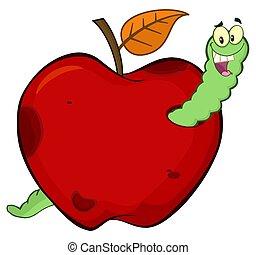 manzana, carácter, gusano, podrido, fruta, diseño, feliz, caricatura, rojo, mascota