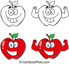 manzana, caracteres, caricatura