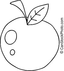 manzana, caricatura, peculiar, dibujo lineal, rojo