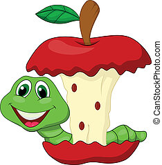 manzana, comida, caricatura, rojo, gusano