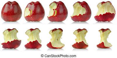 manzana, comido, secuencia