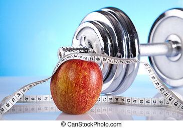 manzana, con, medición, de, dumbbell