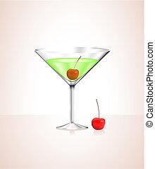 manzana, cristal de martini, con, aceitunas