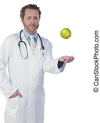 manzana, doctor, tirar, aire, bolsillo, manos