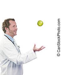 manzana, doctor, tirar, aire, verde, feliz