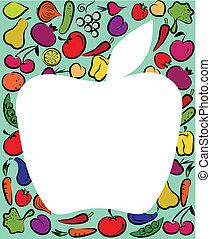 manzana, en, fruta, y, vegtables, plantilla
