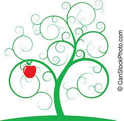 manzana, espiral, árbol