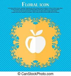 manzana, ., floral, plano, diseño, en, un, azul, resumen, plano de fondo, con, lugar, para, su, text., vector