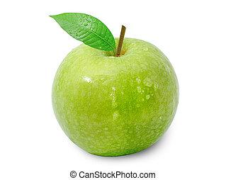 manzana, gota, aislar, agua, verde blanco