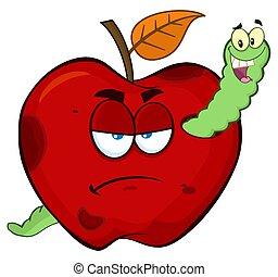 manzana, gusano, podrido, fruta, caracteres, malhumorado, feliz, caricatura, rojo, mascota