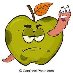 manzana, gusano, podrido, fruta, verde, caracteres, malhumorado, feliz, caricatura, mascota