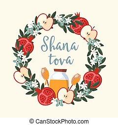 manzana, hashanah., guirnalda, año, design., rosh, tarjeta, ...