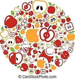 manzana, iconos, en, círculo