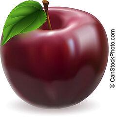 manzana, ilustración, rojo
