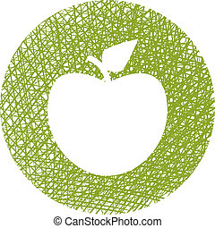 manzana, líneas, mano, verde, dibujado, texture., icono