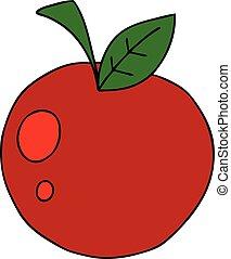 manzana, mano, peculiar, dibujado, caricatura, rojo