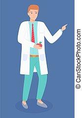 manzana, nutricionista, posición, o, uniforme, ilustración, gastroenterologist, arm., médico, el suyo