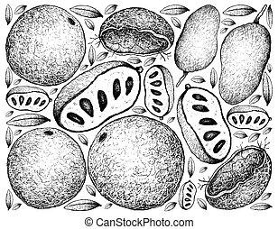 manzana, pata, mano, madera, plano de fondo, dibujado