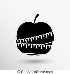 manzana, peso, delgado, dieta, slimming, vector, icono