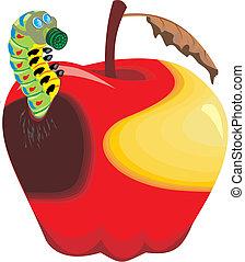 manzana podrida, manzana, wormy